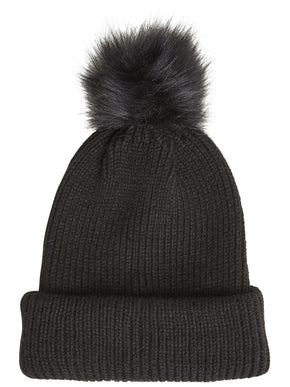 TUQUE WITH FAUX-FUR POM-POM