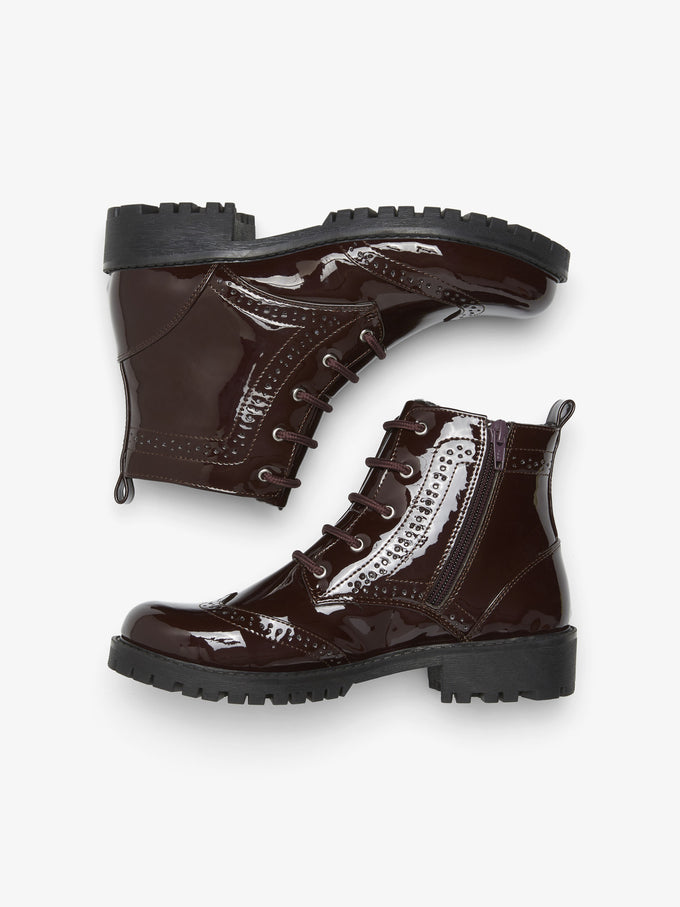 PATENT MILITARY BOOTS ZINFANDEL