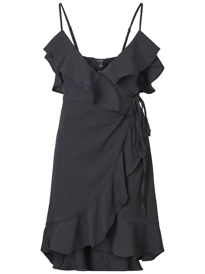 SHORT WRAP DRESS BLACK