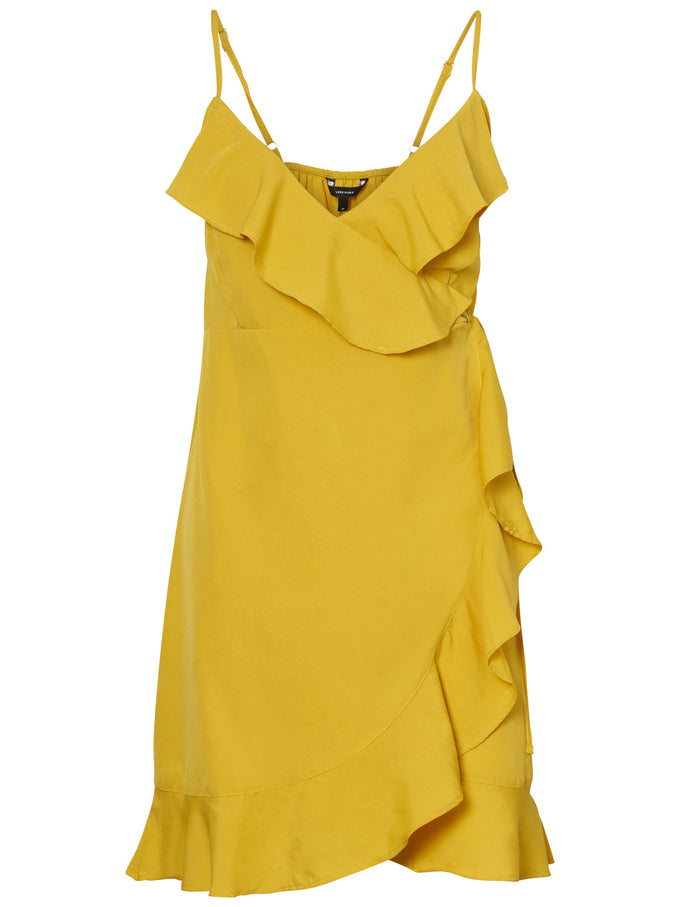SHORT WRAP DRESS SPECTRA YELLOW