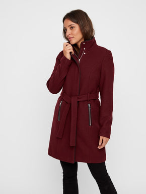 Bessy Wool Coat With Faux Leather Trims