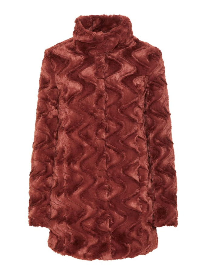 High Neck Faux Fur Jacket MAHOGANY