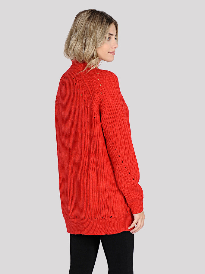 3/4 COMFY SWEATER CHINESE RED