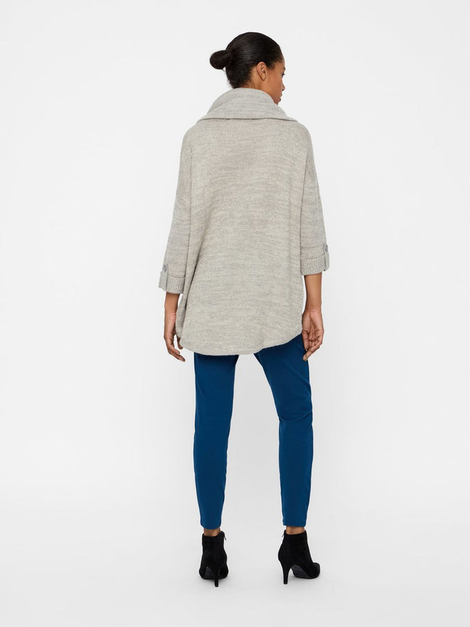 HIGH-LOW LOOSE SWEATER LIGHT GREY MELANGE