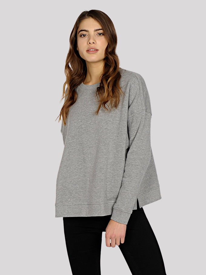 ORGANIC-COTTON OVERSIZED SWEATSHIRT LIGHT GREY MELANGE