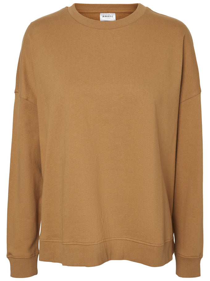 ORGANIC-COTTON OVERSIZED SWEATSHIRT TOBACCO BROWN