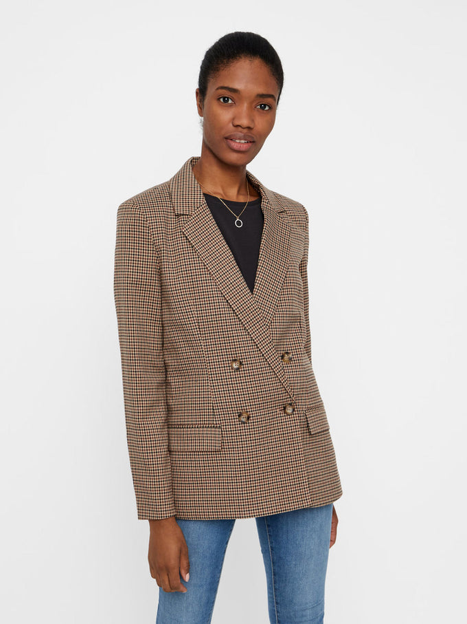 NEUTRAL CHECKERED BLAZER SILVER MINK