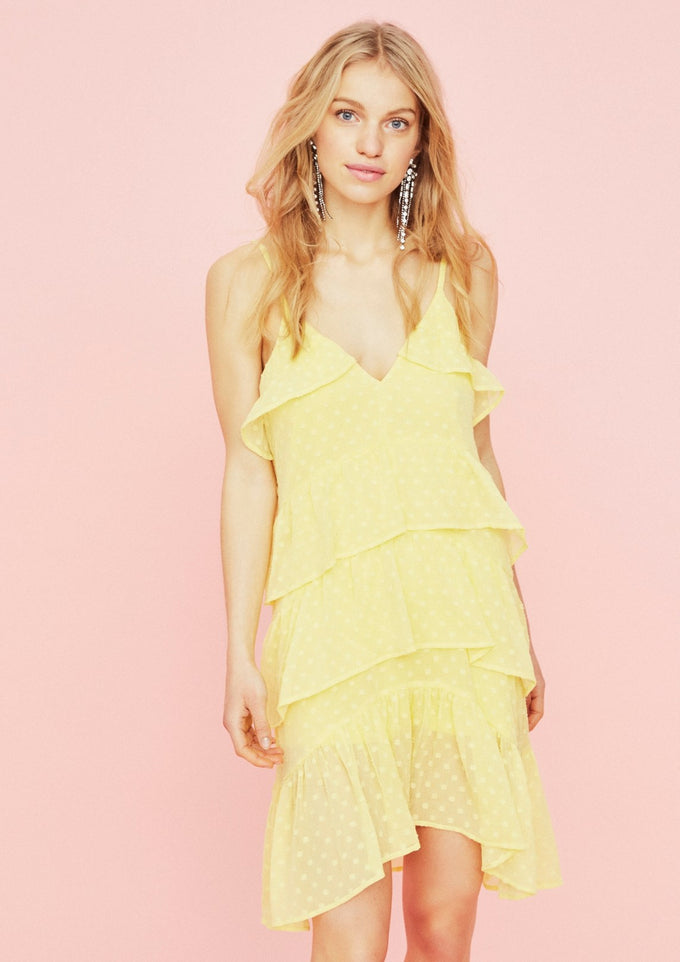 FEMININE DRESS WITH FRILLS LEMON DROP