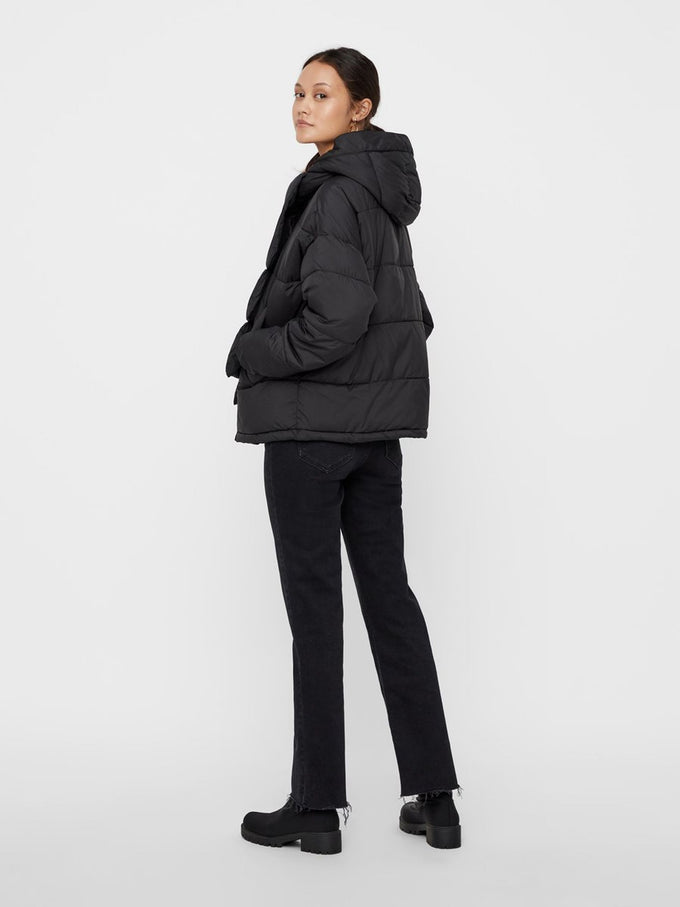 PUFFER JACKET WITH DETACHABLE SCARF BLACK