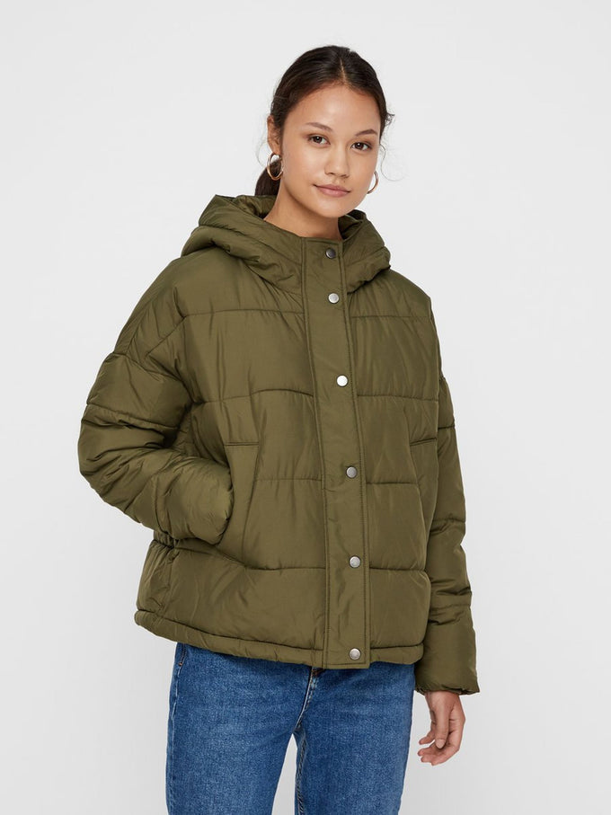 PUFFER JACKET WITH DETACHABLE SCARF IVY GREEN