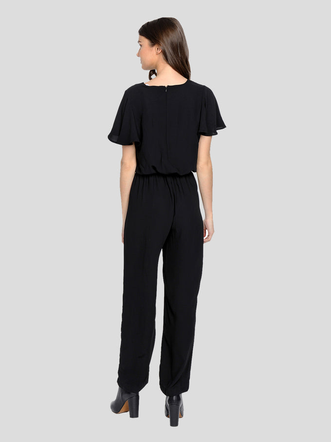 Aware Jumpsuit With Ruffle Sleeves BLACK