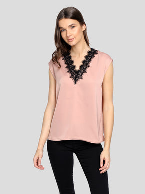 SATIN BLOUSE WITH LACE DETAIL