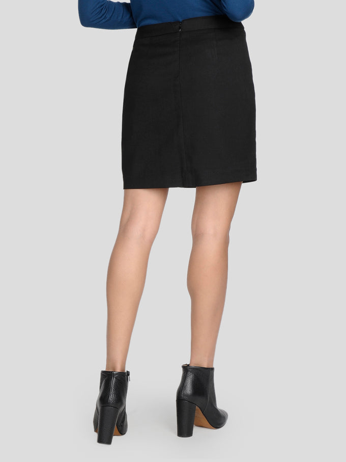 SHORT SKIRT WITH RUFFLES BLACK