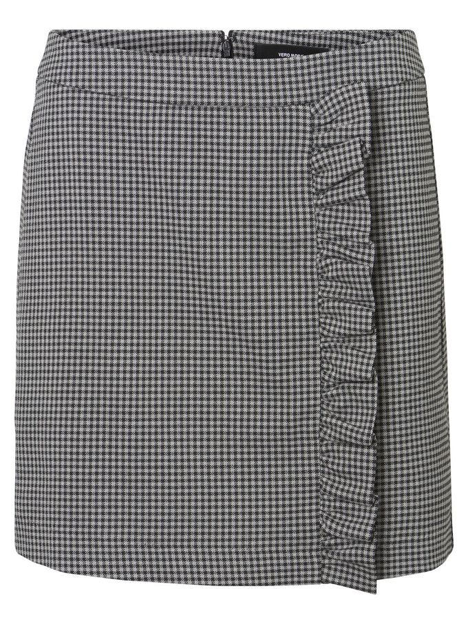 SHORT SKIRT WITH RUFFLES MEDIUM GREY MELANGE