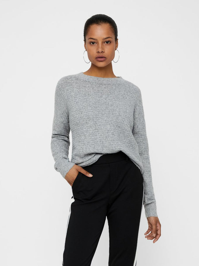 SUPER SOFT SWEATER MEDIUM GREY MELANGE