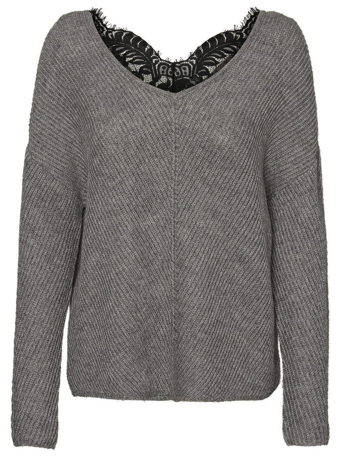 ALPACA-BLEND SWEATER WITH LACE MEDIUM GREY MELANGE