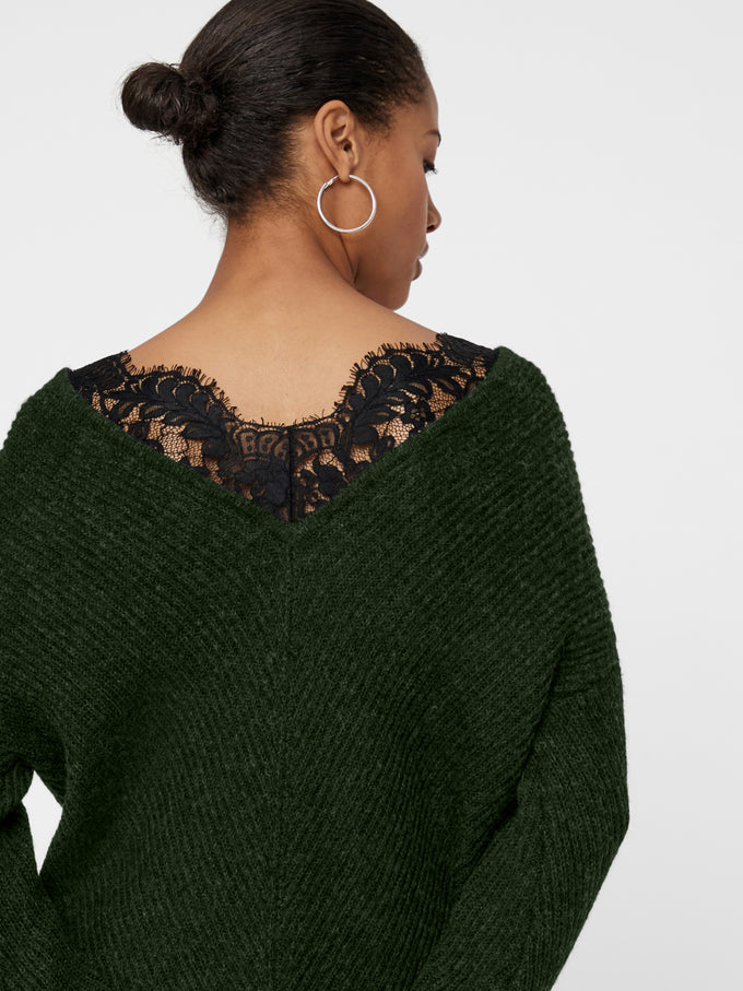 ALPACA-BLEND SWEATER WITH LACE PEAT
