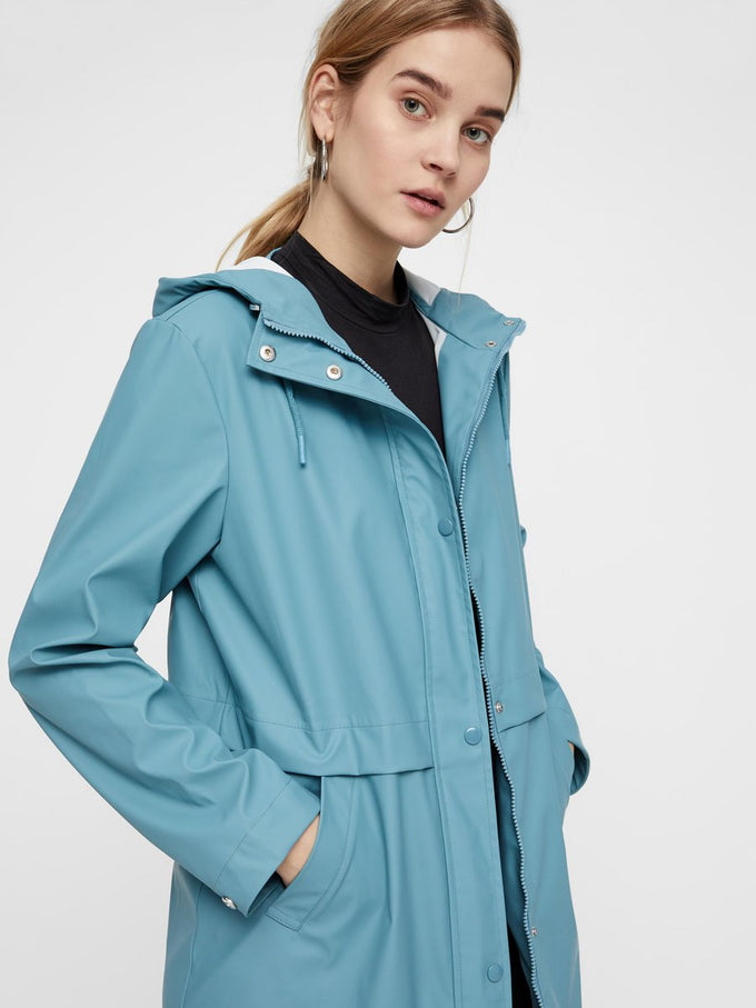 WATER REPELLENT RAIN COAT SMOKE BLUE