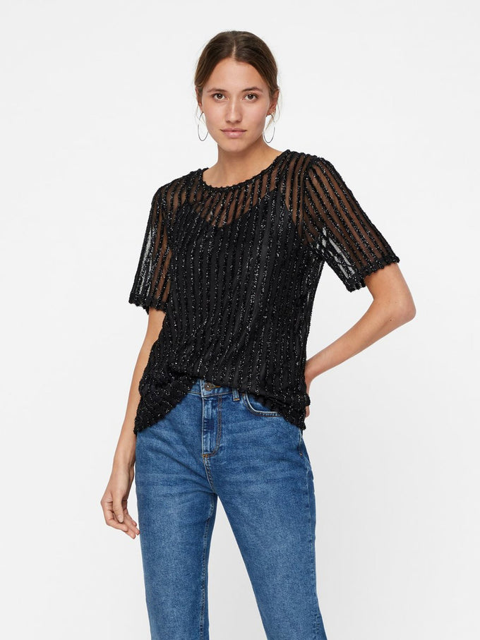 TOP WITH GLITTER STRIPES BLACK