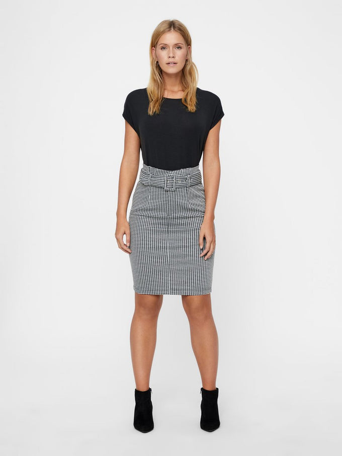 HOUNDSTOOTH PENCIL SKIRT BLACK
