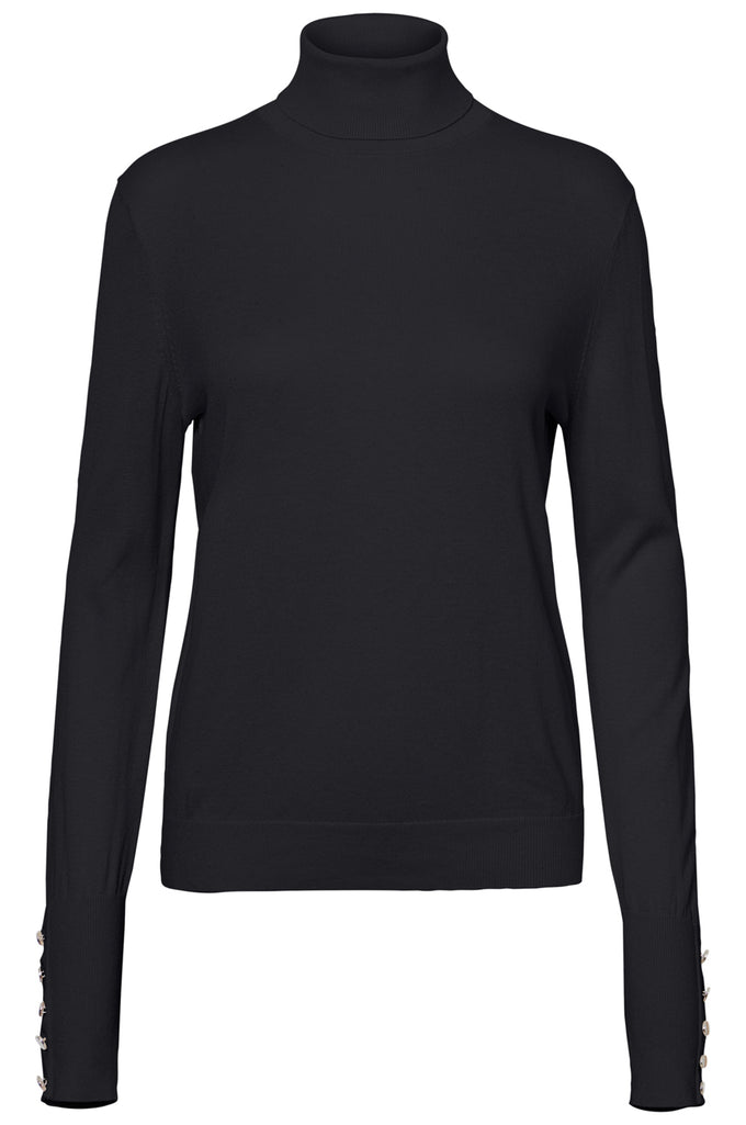 TURTLENECK SWEATER WITH BUTTON DETAILS BLACK