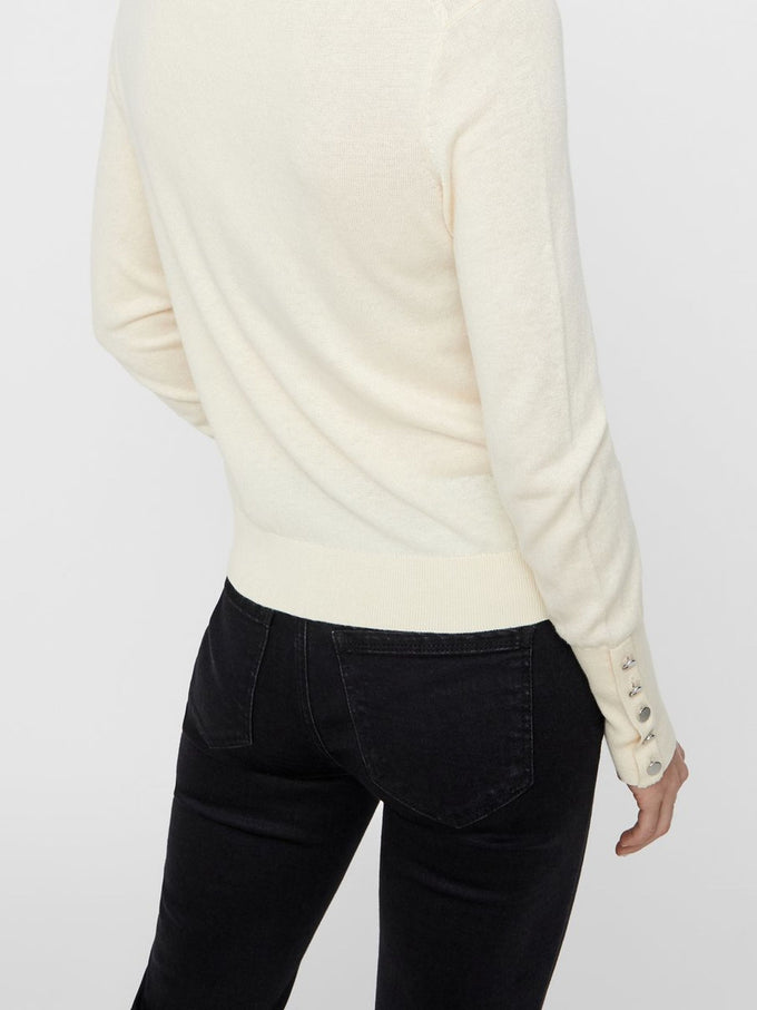 TURTLENECK SWEATER WITH BUTTON DETAILS EGGNOG