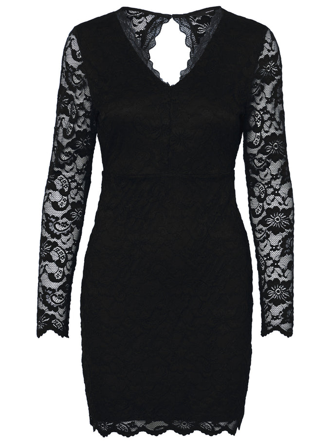 LONG SLEEVE LACE DRESS BLACK