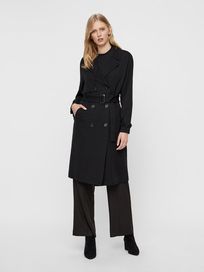 DOUBLE-BREASTED TRENCH COAT BLACK