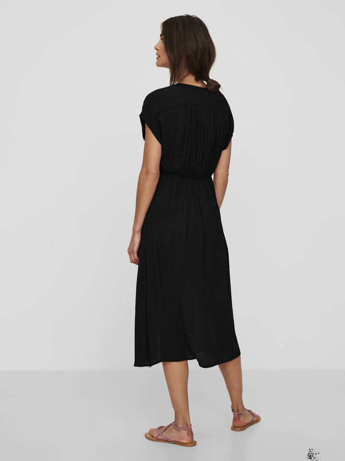 TEXTURED MIDI DRESS BLACK