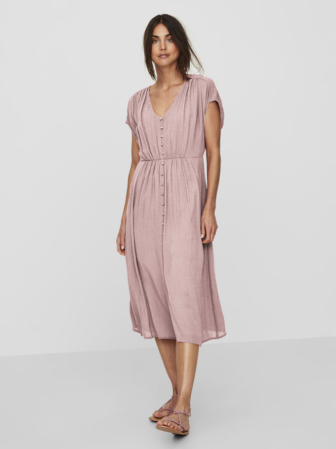 TEXTURED MIDI DRESS WOODROSE