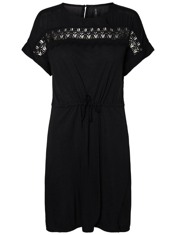JERSEY DRESS WITH LACE BLACK