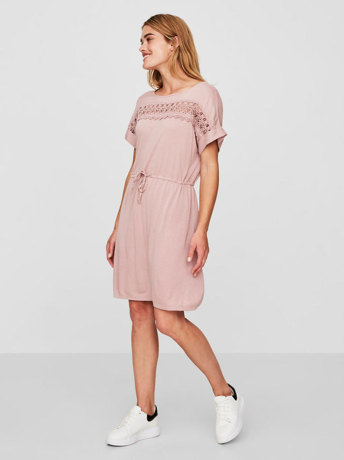 JERSEY DRESS WITH LACE WOODROSE