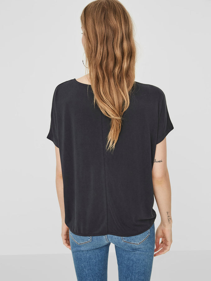 HIGH-LOW MODAL-BLEND T-SHIRT BLACK