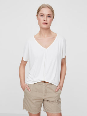 HIGH-LOW MODAL-BLEND T-SHIRT