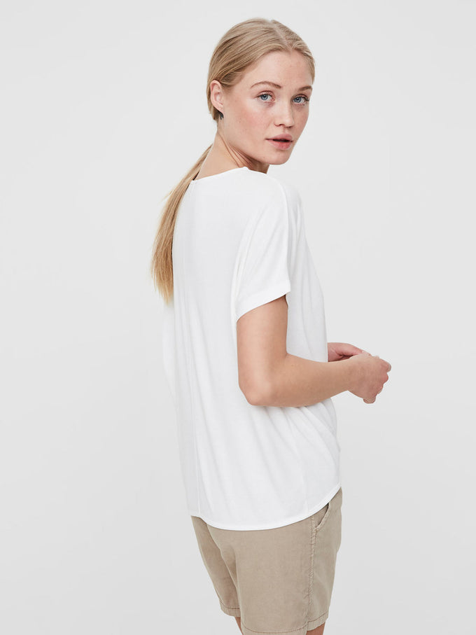 HIGH-LOW MODAL-BLEND T-SHIRT SNOW WHITE