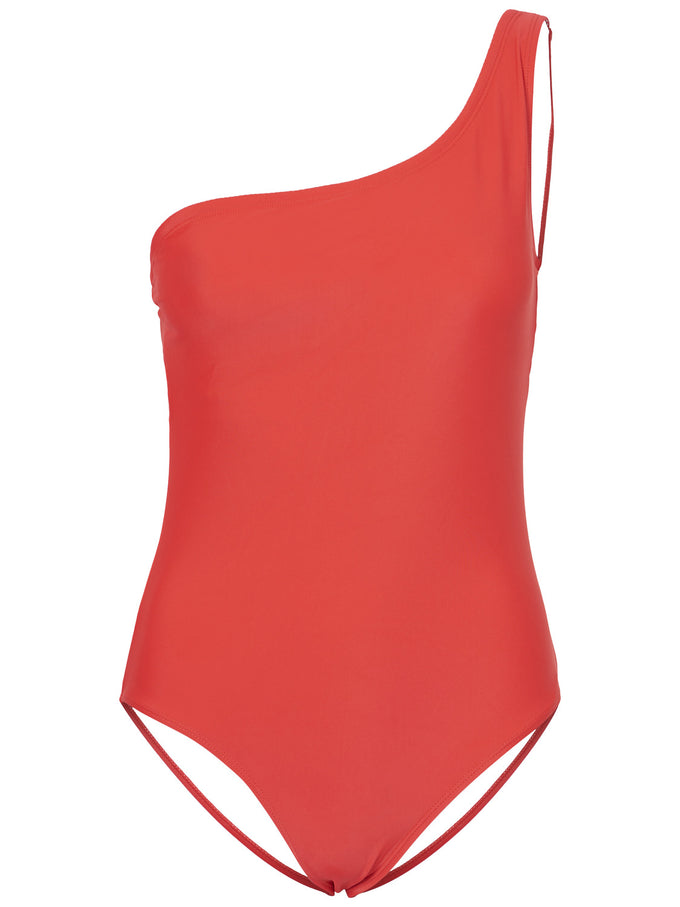 FINAL SALE – ONE-SHOULDER ONE-PIECE SWIMSUIT CHINESE RED