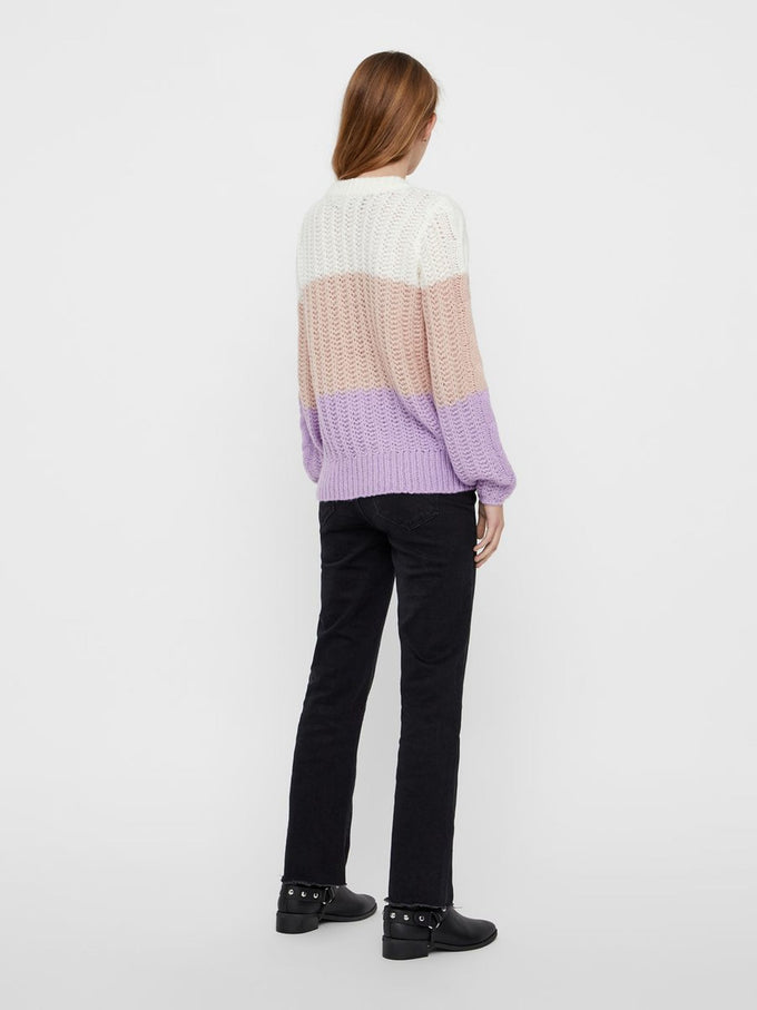 COLOURBLOCK SWEATER SNOW WHITE LILAC