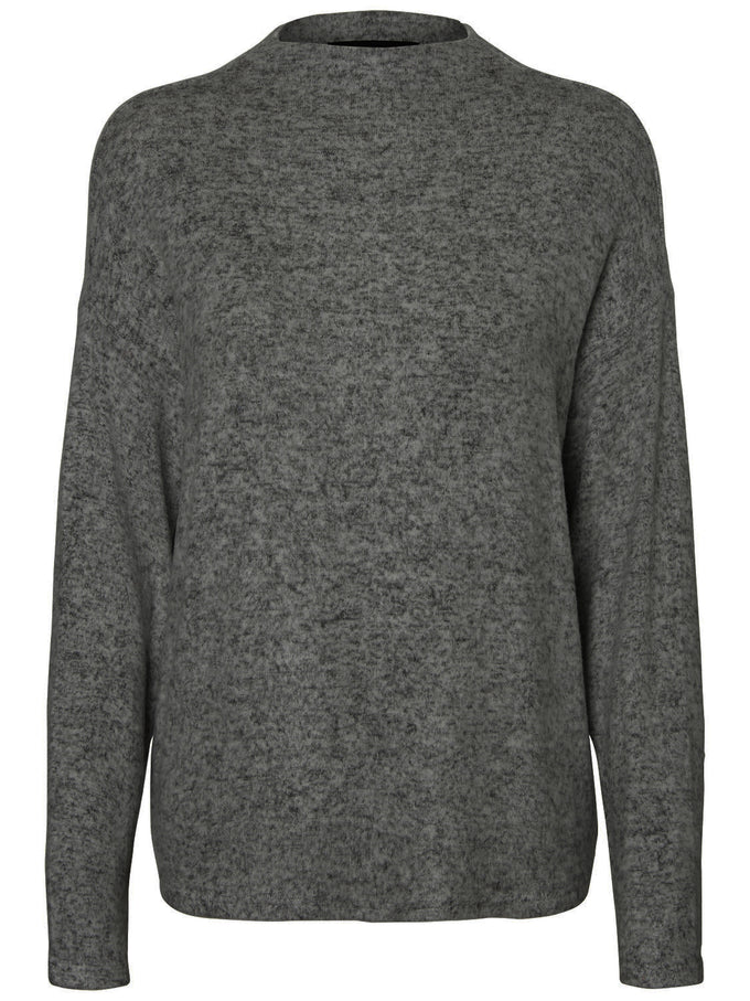 SUPER SOFT BRUSHED SWEATER DARK GREY MELANGE