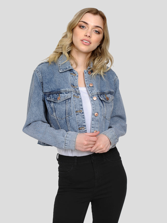 CROPPED DENIM JACKET LIGHT BLUE DENIM