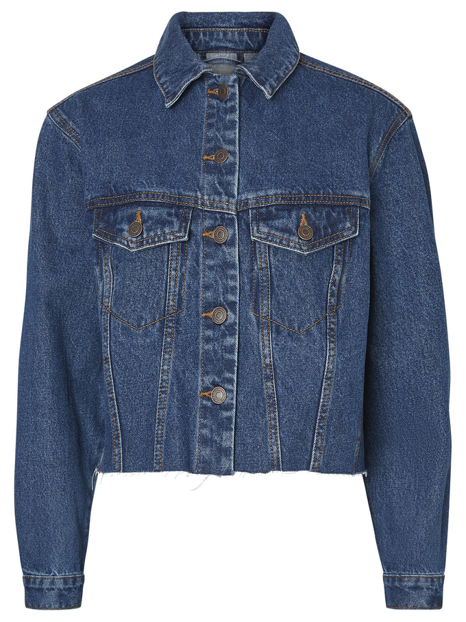 CROPPED DENIM JACKET MEDIUM BLUE DENIM