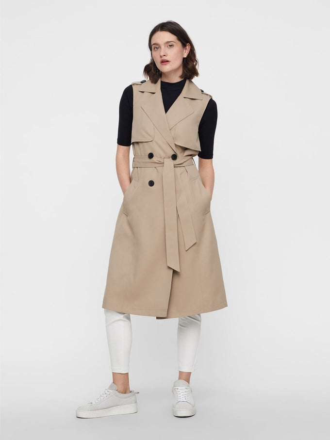 SLEEVELESS TRENCH COAT SILVER MINK