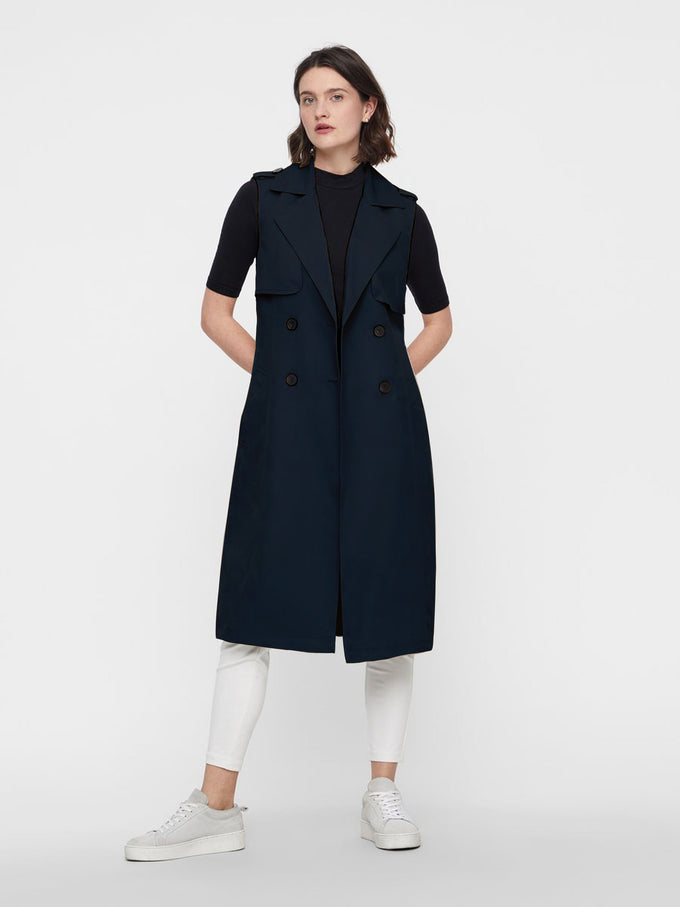 SLEEVELESS TRENCH COAT NIGHT SKY