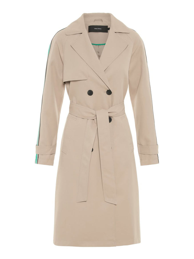 TRENCH COAT WITH COLOURFUL STRIPE SILVER MINK