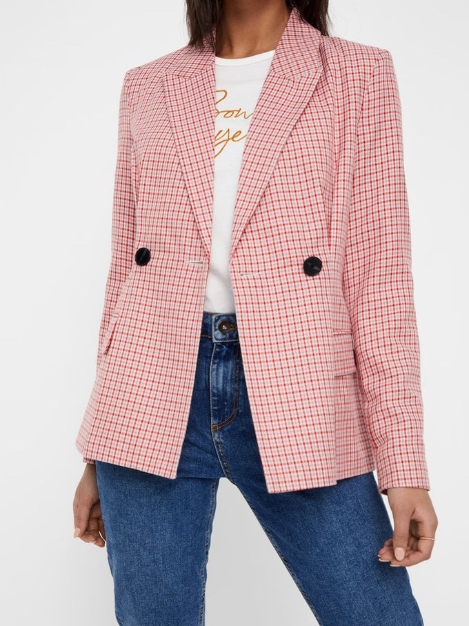 COLOURFUL CHECKERED BLAZER FIERY RED