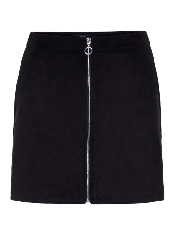 FAUX-SUEDE SKIRT BLACK