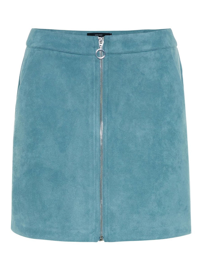 FAUX-SUEDE SKIRT SMOKE BLUE