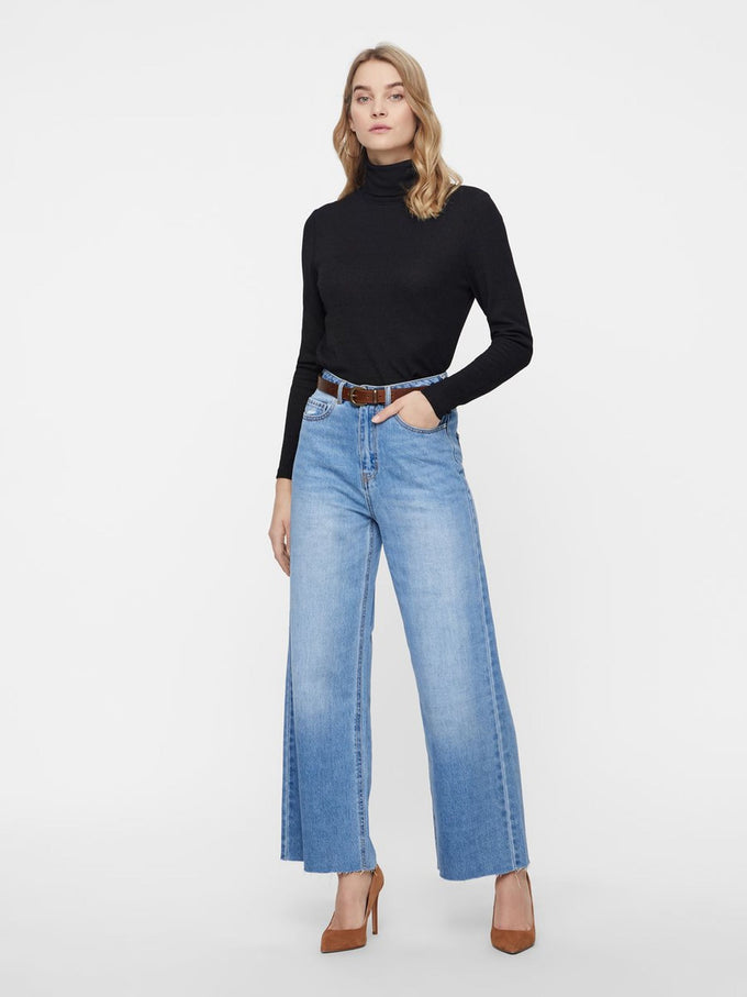 VMKATHY HIGH WAIST WIDE LEG JEANS LIGHT BLUE DENIM