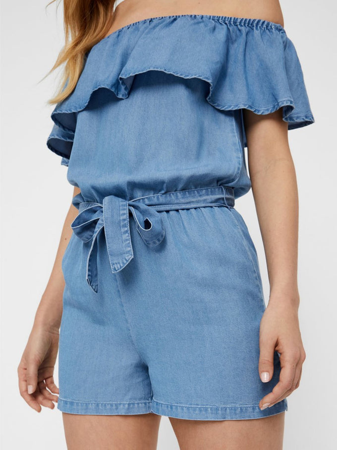 OFF-THE-SHOULDER LYOCELL ROMPER LIGHT BLUE DENIM