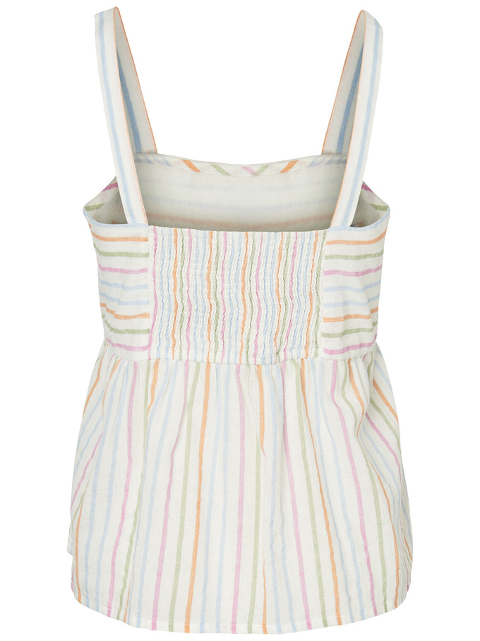 LINEN-BLEND CAMI WITH BUTTON DETAILS SNOW WHITE STRIPES