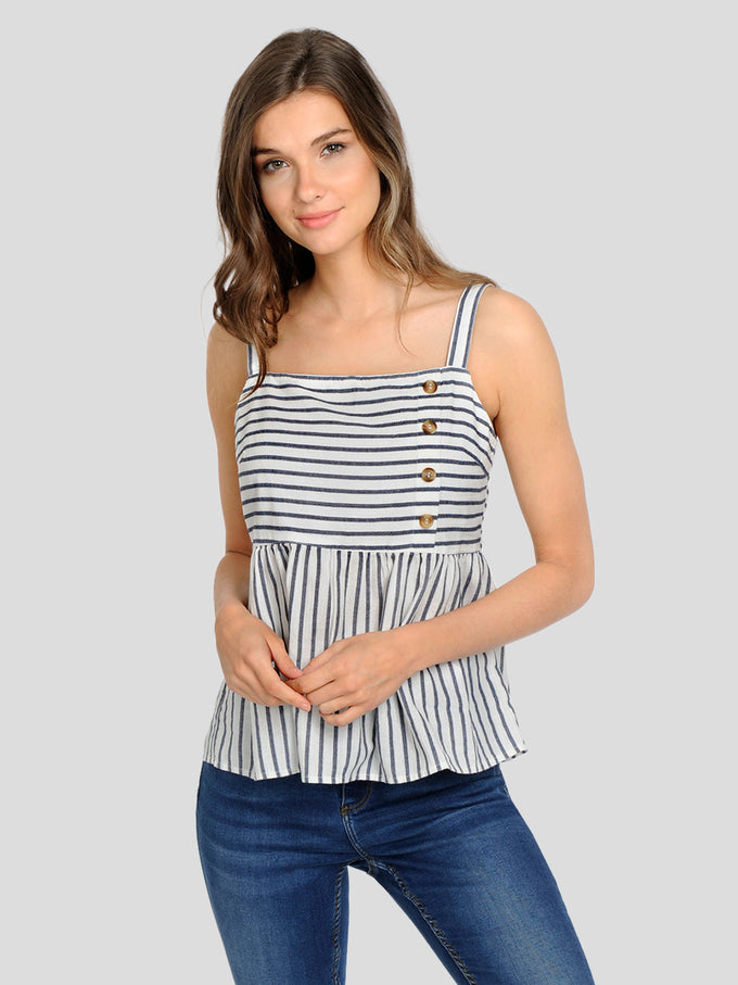 LINEN-BLEND CAMI WITH BUTTON DETAILS SNOW WHITE